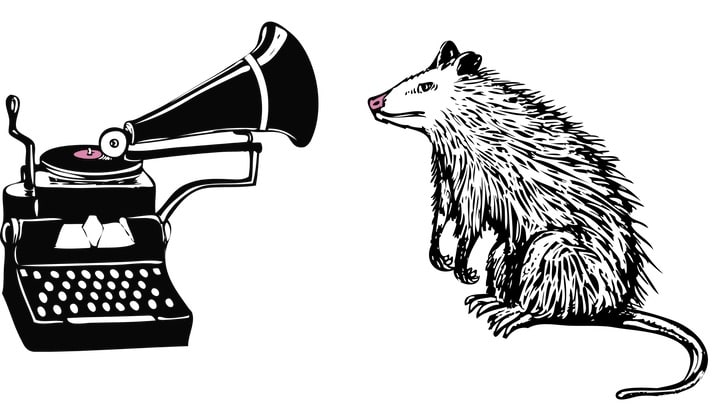 sketch of a possum listening to an old-fashioned record player, or phonograph