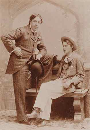 "Photographed, sepia portrait of Oscar_Wilde_and_Alfred ""Bosie"" Douglas,_1893"