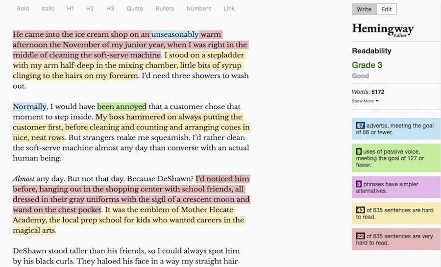 screenshot of Hemingway app in use