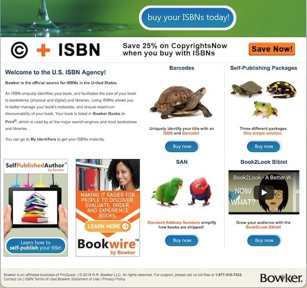 home page of ISBN org which inexplicably features photos of parrots, colorful equatorial amphibians, and turtles