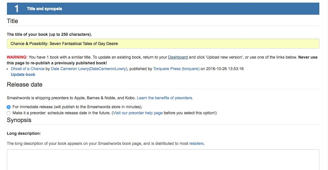 Screenshot of Smashwords book upload page