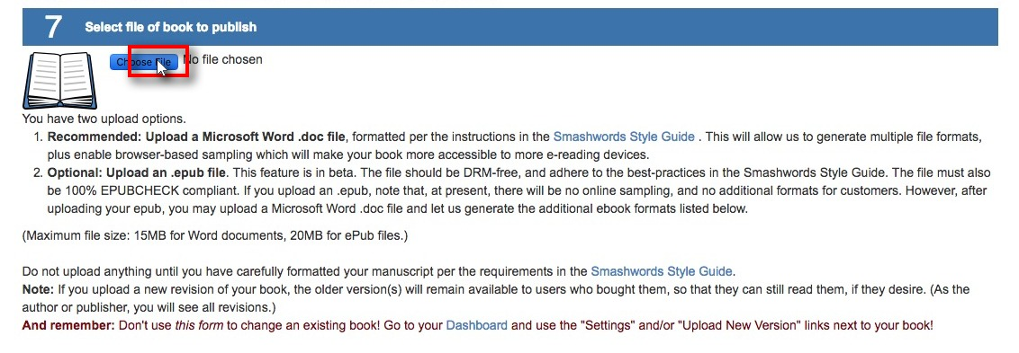 Screenshot of Smashwords book upload page with button for uploading ebook image file