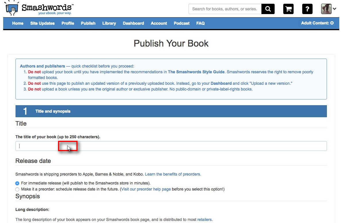 Screenshot of Smashwords book upload page. The page has a space where authors can enter a title.