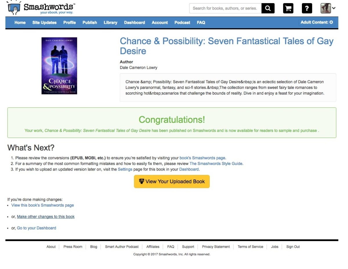 Smashwords uploading success page