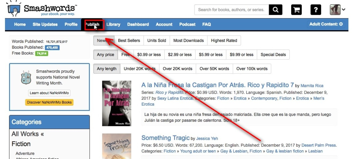 image of Smashwords homepage with Publish item on Menu highlighted