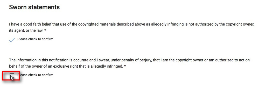 screenshot of sworn statements