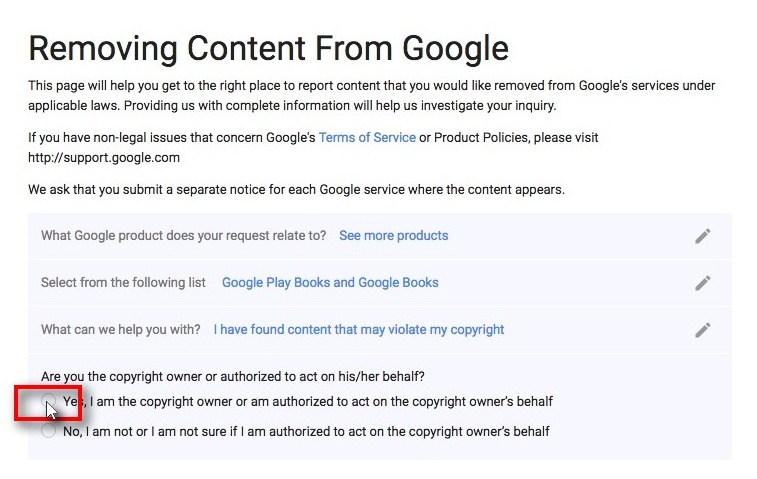 screenshot of Removing Content from Google questionnaire