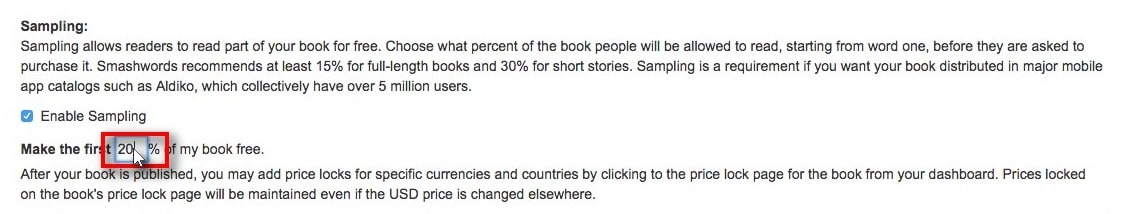 How to publish ebooks on smashwords dale cameron lowry author under sampling you can choose whether to make a sample of your title available for reading before purchasing as well as what percentage of the book can be fandeluxe Choice Image