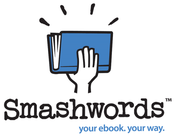 smashwords logo of cartoon hand holding a book triumphantly