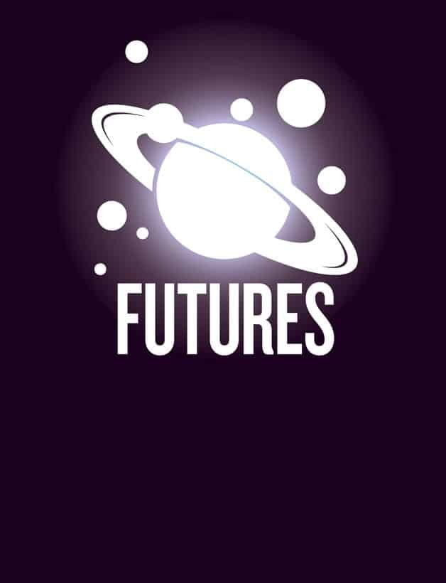 Nature futures logo which is a stylized image of Saturn and its moons with the word Futures below