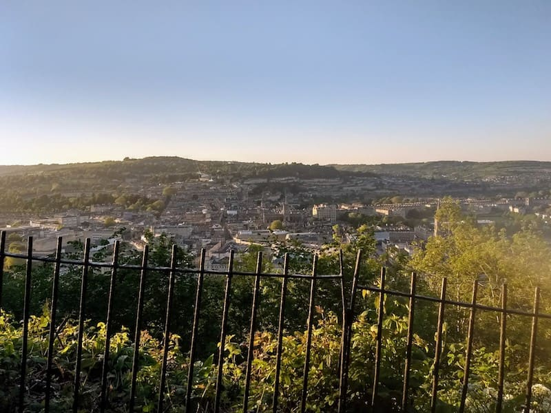 View of Bath town from the top of Beechin Cliff
